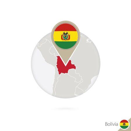 mapa de bolivia: Bolivia mapa y la bandera en círculo. Mapa de Bolivia, Bolivia pin de la bandera. Mapa de Bolivia en el estilo del globo. Ilustración del vector.