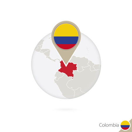 colombia: Colombia map and flag in circle. Map of Colombia, Colombia flag pin. Map of Colombia in the style of the globe. Vector Illustration.