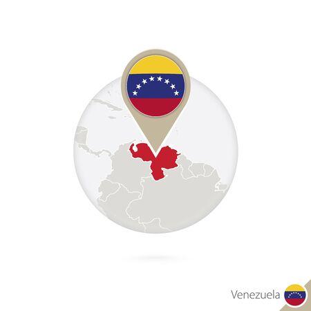 mapa de venezuela: Venezuela mapa y la bandera en círculo. Mapa de Venezuela, Venezuela pin de la bandera. Mapa de Venezuela en el estilo del globo. Ilustración del vector.