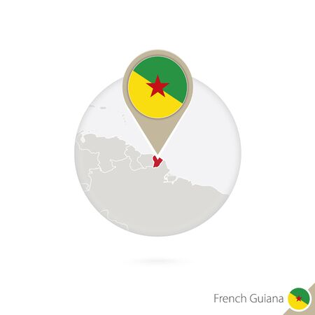 guiana: French Guiana map and flag in circle. Map of French Guianal, French Guiana flag pin. Map of French Guiana in the style of the globe. Vector Illustration.
