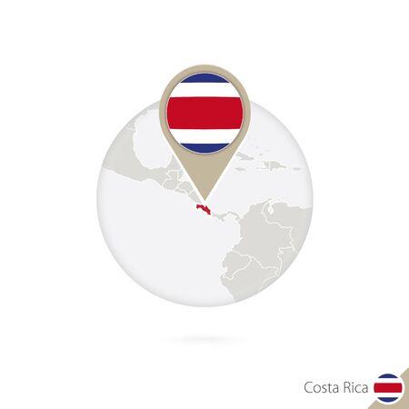 bandera de costa rica: Mapa de Costa Rica y la bandera en círculo. Mapa de Costa Rica, Costa Rica pin de la bandera. Mapa de Costa Rica en el estilo del globo. Ilustración del vector.