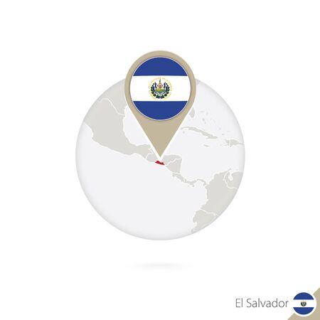 bandera de el salvador: Mapa de la bandera de El Salvador y en círculo. Mapa de El Salvador, El Salvador pin de la bandera. Mapa de El Salvador en el estilo del globo. Ilustración del vector.