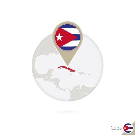 bandera de cuba: Cuba mapa y la bandera en círculo. Mapa de Cuba, Cuba pin de la bandera. Mapa de Cuba en el estilo del globo. Ilustración del vector. Vectores