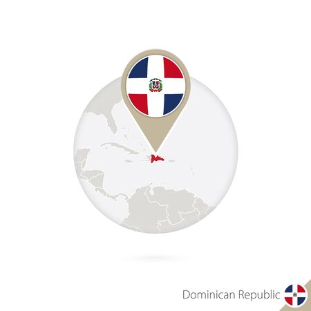 republic dominican: Dominican Republic map and flag in circle. Map of Dominican Republic, Dominican Republic flag pin. Map of Dominican Republic in the style of the globe. Vector Illustration. Illustration