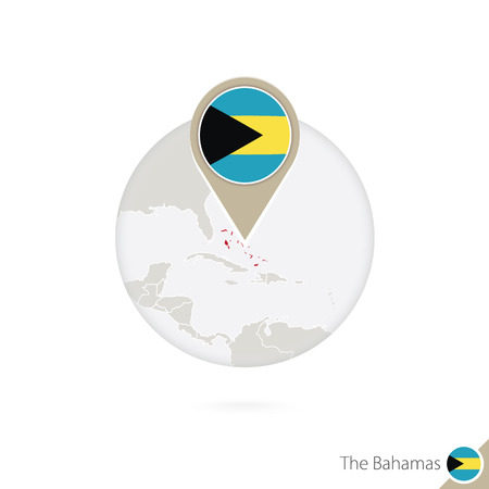 bahamas map: The Bahamas map and flag in circle. Map of Bahamas, Bahamas flag pin. Map of Bahamas in the style of the globe. Vector Illustration. Illustration