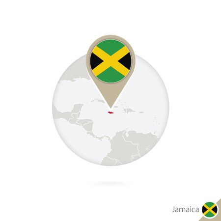 land mark: Jamaica map and flag in circle. Map of Jamaica, Jamaica flag pin. Map of Jamaica in the style of the globe. Vector Illustration.