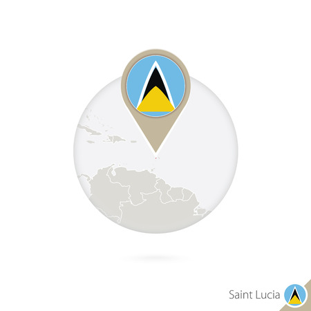 Map Pin With Detailed Map Of Saint Lucia And Neighboring Countries