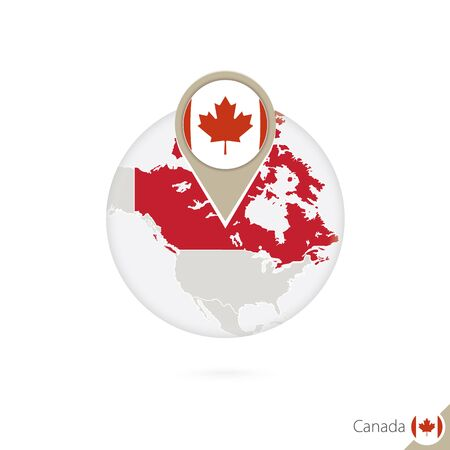 land mark: Canada map and flag in circle. Map of Canada, Canada flag pin. Map of Canada in the style of the globe. Vector Illustration.