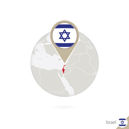 israel flag: Israel map and flag in circle. Map of Israel, Israel flag pin. Map of Israel in the style of the globe. Vector Illustration.