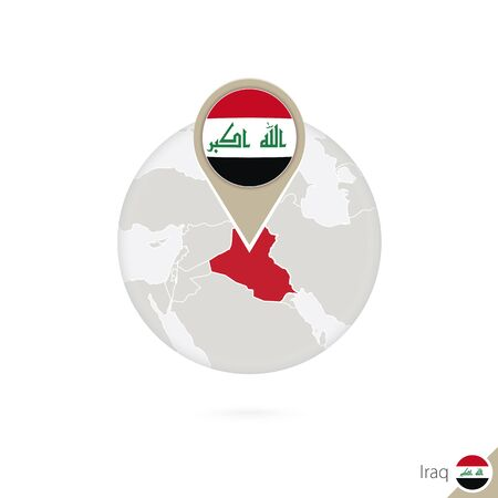 iraq flag: Iraq map and flag in circle. Map of Iraq, Iraq flag pin. Map of Iraq in the style of the globe. Vector Illustration.