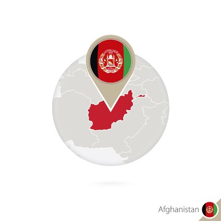 stud: Afghanistan map and flag in circle. Map of Afghanistan, Afghanistan flag pin. Map of Afghanistan in the style of the globe. Vector Illustration. Illustration