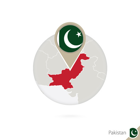 pakistan flag: Pakistan map and flag in circle. Map of Pakistan, Pakistan flag pin. Map of Pakistan in the style of the globe. Vector Illustration.