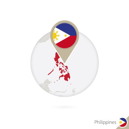 philippines map: Philippines map and flag in circle. Map of Philippines, Philippines flag pin. Map of Philippines in the style of the globe. Vector Illustration.