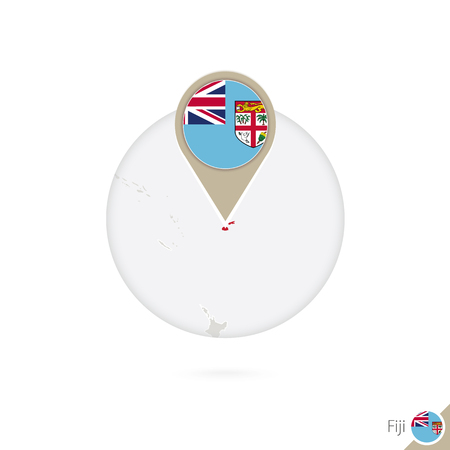 stud: Fiji map and flag in circle. Map of Fiji, Fiji flag pin. Map of Fiji in the style of the globe. Vector Illustration.