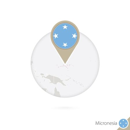 micronesia: Micronesia map and flag in circle. Map of Micronesia, Micronesia flag pin. Map of Micronesia in the style of the globe. Vector Illustration.
