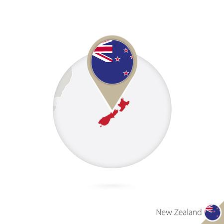 new zealand flag: New Zealand map and flag in circle. Map of New Zealand, New Zealand flag pin. Map of New Zealand in the style of the globe. Vector Illustration. Illustration