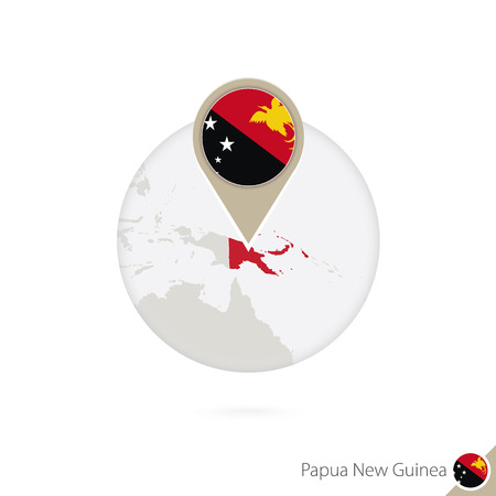stud: Papua New Guinea map and flag in circle. Map of Papua New Guinea, Papua New Guinea flag pin. Map of Papua New Guinea in the style of the globe. Vector Illustration. Illustration