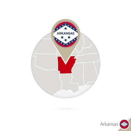 stud: Arkansas US State map and flag in circle. Map of Arkansas, Arkansas flag pin. Map of Arkansas in the style of the globe. Vector Illustration.