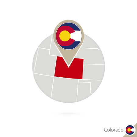 Colorado US State map and flag in circle. Map of Colorado, Colorado flag pin. Map of Colorado in the style of the globe. Vector Illustration.