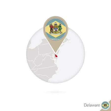 dover: Delaware US State map and flag in circle. Map of Delaware, Delaware flag pin. Map of Delaware in the style of the globe. Vector Illustration.