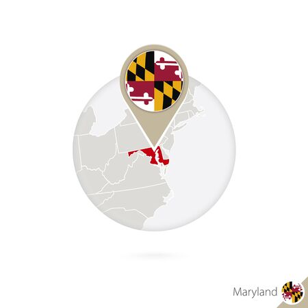 maryland flag: Maryland US State map and flag in circle. Map of Maryland, Maryland flag pin. Map of Maryland in the style of the globe. Vector Illustration.