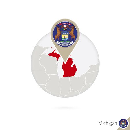 michigan flag: Michigan US State map and flag in circle. Map of Michigan, Michigan flag pin. Map of Michigan in the style of the globe. Vector Illustration.