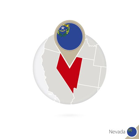 carson city: Nevada US State map and flag in circle. Map of Nevada, Nevada flag pin. Map of Nevada in the style of the globe. Vector Illustration.