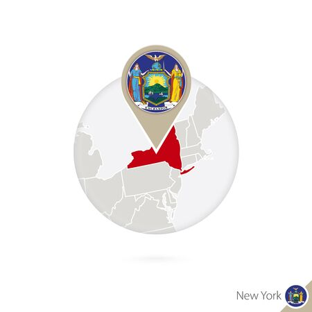 albany: New York US State map and flag in circle. Map of New York, New York flag pin. Map of New York in the style of the globe. Vector Illustration.
