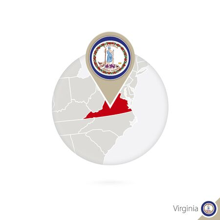 Virginia US State map and flag in circle. Map of Virginia, Virginia flag pin. Map of Virginia in the style of the globe. Vector Illustration.