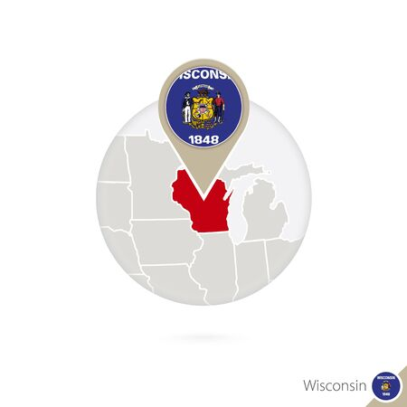 wisconsin flag: Wisconsin US State map and flag in circle. Map of Wisconsin, Wisconsin flag pin. Map of Wisconsin in the style of the globe. Vector Illustration.