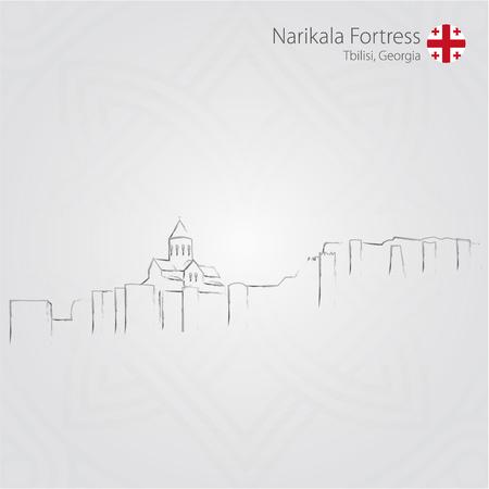 st  nicholas: Narikala fortress contour, St Nicholas church, Tbilisi, Georgia. Vector Illustration.