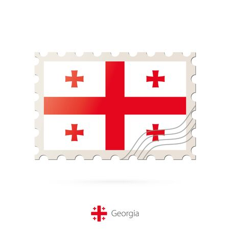 georgia flag: Postage stamp with the image of Georgia flag. Georgia Flag Postage on white background with shadow. Vector Stamp. Postage stamp and Georgia flag. Vector Illustration.