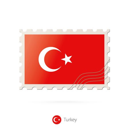 turkey flag: Postage stamp with the image of Turkey flag. Turkey Flag Postage on white background with shadow. Vector Stamp. Postage stamp and Turkey flag. Vector Illustration.