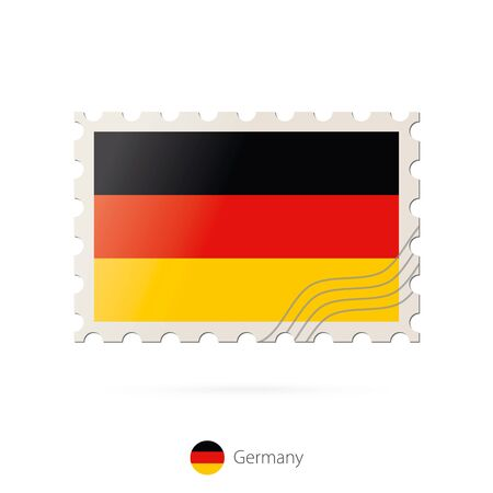 germany flag: Postage stamp with the image of Germany flag. Germany Flag Postage on white background with shadow. Vector Stamp. Postage stamp and Germany flag. Vector Illustration. Illustration