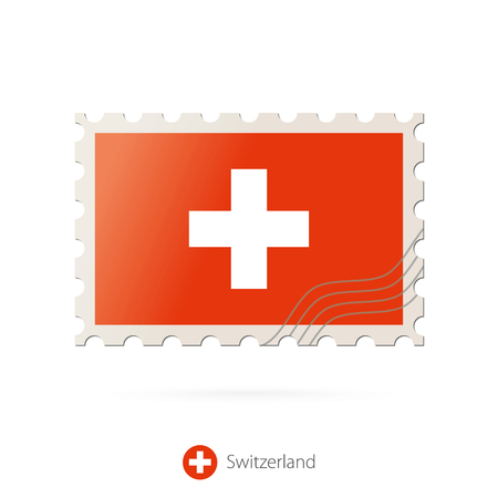switzerland flag: Postage stamp with the image of Switzerland flag. Switzerland Flag Postage on white background with shadow. Vector Stamp. Postage stamp and Switzerland flag. Vector Illustration.