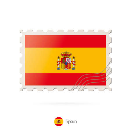spain flag: Postage stamp with the image of Spain flag. Spain Flag Postage on white background with shadow. Vector Stamp. Postage stamp and Spain flag. Vector Illustration.