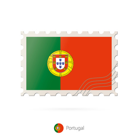 made in portugal: Postage stamp with the image of Portugal flag. Portugal Flag Postage on white background with shadow. Vector Stamp. Postage stamp and Portugal flag. Vector Illustration.