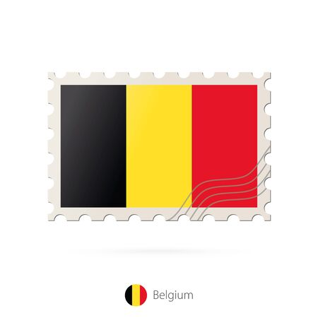 belgium flag: Postage stamp with the image of Belgium flag. Belgium Flag Postage on white background with shadow. Vector Stamp. Postage stamp and Belgium flag. Vector Illustration.