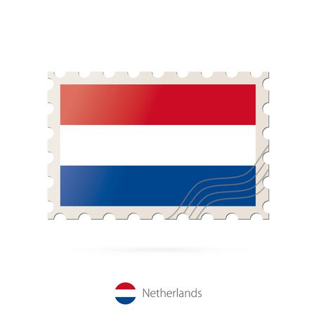netherlands flag: Postage stamp with the image of Netherlands flag. Netherlands Flag Postage on white background with shadow. Vector Stamp. Postage stamp and Netherlands flag. Vector Illustration.