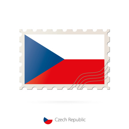 czech republic flag: Postage stamp with the image of Czech Republic flag. Czech Republic Flag Postage on white background with shadow. Vector Stamp. Postage stamp and Czech Republic flag. Vector Illustration.