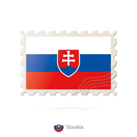 slovakia flag: Postage stamp with the image of Slovakia flag. Slovakia Flag Postage on white background with shadow. Vector Stamp. Postage stamp and Slovakia flag. Vector Illustration. Illustration