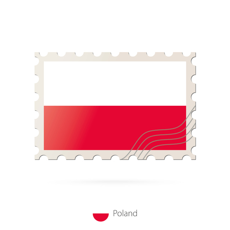 poland flag: Postage stamp with the image of Poland flag. Poland Flag Postage on white background with shadow. Vector Stamp. Postage stamp and Poland flag. Vector Illustration.