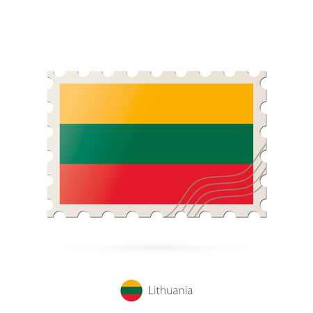 lithuania flag: Postage stamp with the image of Lithuania flag. Lithuania Flag Postage on white background with shadow. Vector Stamp. Postage stamp and Lithuania flag. Vector Illustration. Illustration