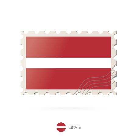 latvia flag: Postage stamp with the image of Latvia flag. Latvia Flag Postage on white background with shadow. Vector Stamp. Postage stamp and Latvia flag. Vector Illustration.