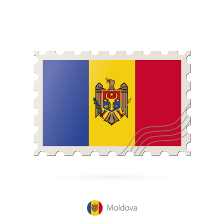 post mail: Postage stamp with the image of Moldova flag. Moldova Flag Postage on white background with shadow. Vector Illustration. Illustration