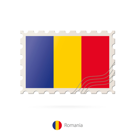 romania flag: Postage stamp with the image of Romania flag. Romania Flag Postage on white background with shadow. Vector Stamp. Postage stamp and Romania flag. Vector Illustration. Illustration