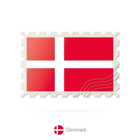 denmark flag: Postage stamp with the image of Denmark flag. Denmark Flag Postage on white background with shadow. Vector Stamp. Postage stamp and Denmark flag. Vector Illustration. Illustration