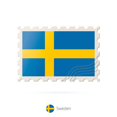 sweden flag: Postage stamp with the image of Sweden flag. Sweden Flag Postage on white background with shadow. Vector Stamp. Postage stamp and Sweden flag. Vector Illustration.