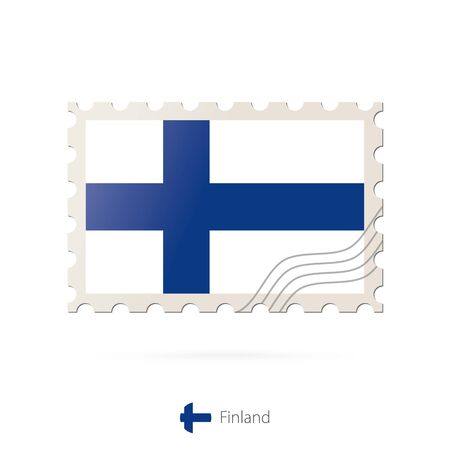 FINLAND flag: Postage stamp with the image of Finland flag. Finland Flag Postage on white background with shadow. Vector Stamp. Postage stamp and Finland flag. Vector Illustration.