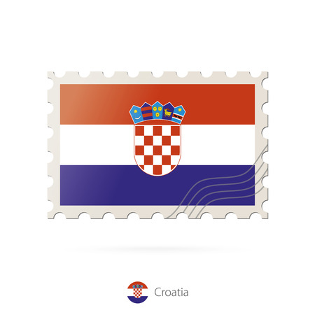 bandera de croacia: Postage stamp with the image of Croatia flag. Croatia Flag Postage on white background with shadow. Vector Illustration.
